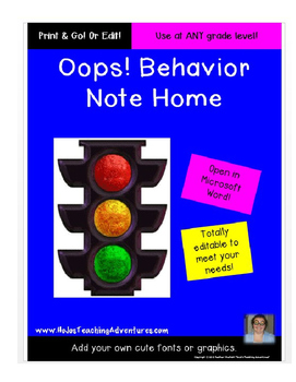"""Oops!"" Behavior Note Home"