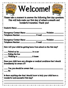Open House Parent Form -- For the First Day of School