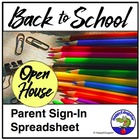Open House Parent Sign In Sheet Spreadsheet
