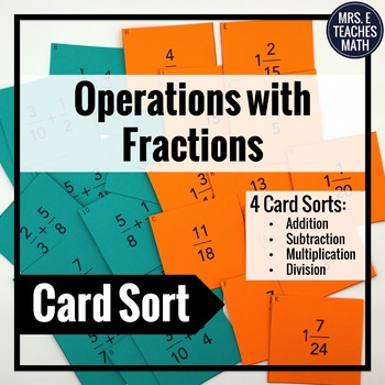 Operations With Fractions Matching Cards (Add, Subtract, M