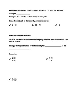 Operations with Complex Numbers:  Guided Notes, Extra Prac