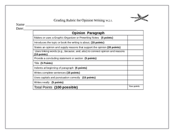 Opinion Letter with Opinion Paragraph Rubric CCSS