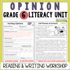 Opinion Reading & Writing Unit: Grade 6...40 Lessons with CCSS!!