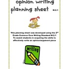 Opinion Writing Planning Sheet Common Core W.2.1