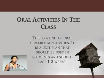 Oral Activities In The Classroom