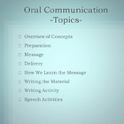 Oral Communication - Explanations, Techniques and Tips