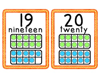 Orange Dots Number Cards 1-20