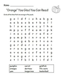 Orange You Glad You Can Read - Word Search