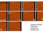 Orange and Black Glitter Paws Powerpoint Backgrounds