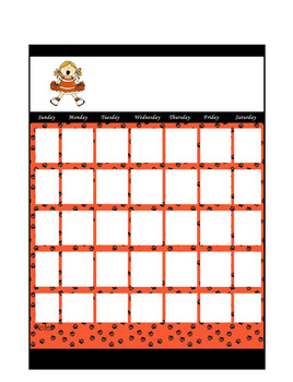 Orange and Black Paw Cheer Blank Calendar Page