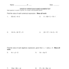 Order of Operations and Signed Numbers Test - 3 Versions