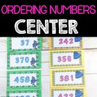 Ordering Numbers Winter Theme Math Center, Station, Tub