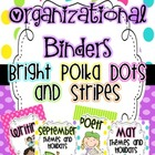 Organizational Binder Covers and Spines {Bright Dots and Stripes}