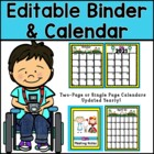 Organizational Editable Binder and Calendar Pages (Alice i