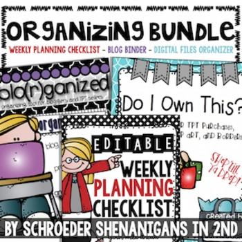 Organizing BUNDLE! - Checklist, Blogging Binder AND Tpt Pu