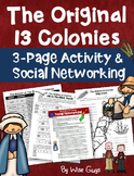 Original 13 Colonies Facebook and Questions Activity Common Core