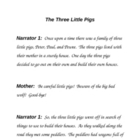 Original Play Script for the Three Little Pigs