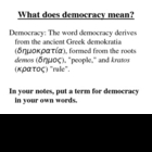 Origins of Democracy