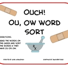 Ouch! ou and ow word sort