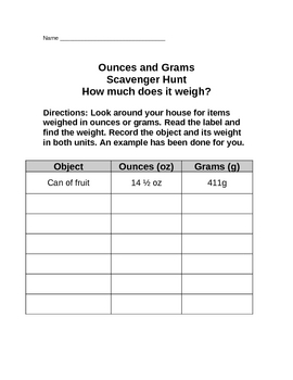 Ounce-Gram Scavenger Hunt Homework