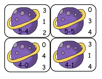 Outer Space Subtraction Cip Cards