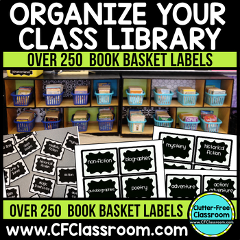 Over 250 BOOK BASKET LABELS to ORGANIZE YOUR LIBRARY {Blac