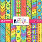 Over the Rainbow Digital Scrapbook Paper BOLD - Spring Sum