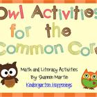 Owl Activities for the Common Core