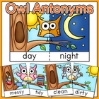 Antonyms - Owl Antonyms Flash Cards, Game Tiles, Posters -