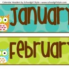 Owl Calendar Headers Classroom Decor