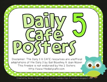 Owl Daily Five CAFE Header Signs