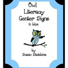 Owl Literacy Center Signs in Blue with Titles
