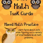 Owl Math Task Cards! (set of 20)  Mixed Math Practice
