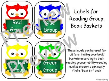 Owl Reading Group Signs and Labels