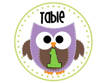 Owl Table Number Signs