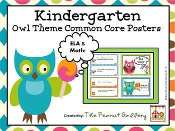 Owl Theme Kindergarten Common Core Posters (ELA and Math)