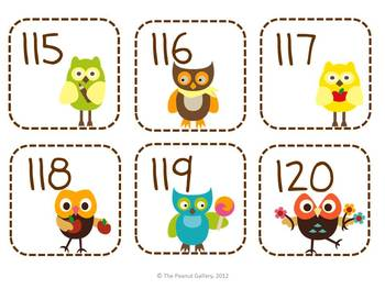 Owl Theme Number Cards 1-120