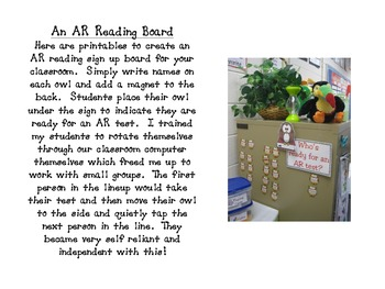 Owl Themed AR Reading Test Sign Up Board