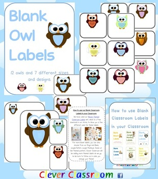 Owl Themed Blank Classroom Labels - 48 pages