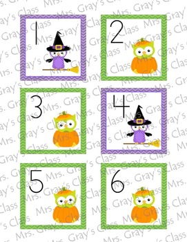 Owl Themed Calendar Cards - October