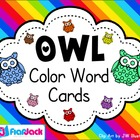 Owl Themed Color Word Cards