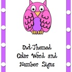 Owl-Themed Color Words and Number SIgns