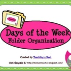 Owl Themed Days of the Week File Folder Organization