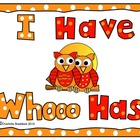 Owl Themed: I Have Who Has Capital and Lower Case Letters 
