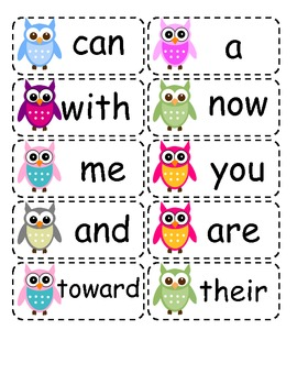 Owl Themed Kindergarten Sight Words
