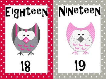 Owl Themed Number Cards