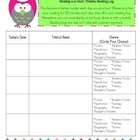 Owl Themed Reading Log with Genre Connection