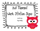 Owl Themed Work Station Signs