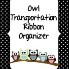 Owl Transportation Ribbon Organizer BLACK AND WHITE