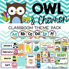Owl and Chevron Classroom Theme Pack